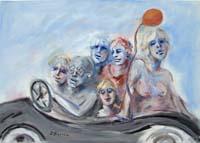 Quadro di  Umberto Bianchini - Tutti al mare mixta tela