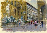 Quadro di  Graziano Marsili - Piazza della Signoria huile carton