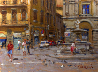 Quadro di  Graziano Marsili - Piazza Santa Croce huile tableau
