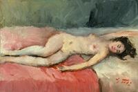 Quadro di  Gino Tili - Nudo sul letto Óleos tela