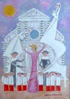 Quadro di  Adorno Bonciani - Ippocembalo a S.Croce huile carton