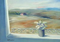 Quadro di Umberto Bianchini - Balcone con vista olio tela