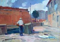 Quadro di Piero Marchi  Quartiere Venezia a  Livorno