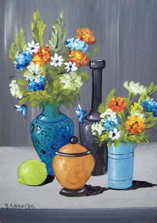 Quadro di marcello gamurro vasi di fiori for Vasi di fiori dipinti