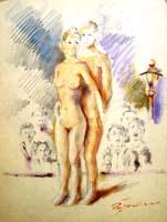 Quadro di  Luigi Pignataro - Nudi mixta cartÓn