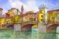 Quadro di  Giovanni Ospitali - Ponte Vecchio acuarela cartÓn