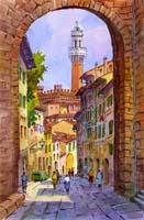 Quadro di  Giovanni Ospitali - Siena Arco di San Giuseppe acuarela cartÓn
