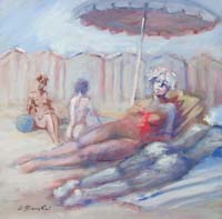 Work of Umberto Bianchini - In spiaggia oil canvas