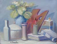 Quadro di  Umberto Bianchini - Com posizione con tavolozza Óleos tela