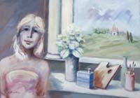 Quadro di  Umberto Bianchini - Figura con veduta mixta tela