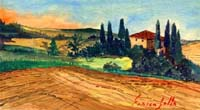 Quadro di Enrico Gallo - Campagna senese acrilico tavola