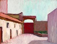 Quadro di Dino Migliorini - cancello rosso olio tavola
