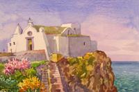 Quadro di  Giovanni Ospitali - Ischia Chiesa del Soccorso acuarela papel
