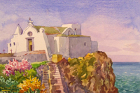 Работы  Giovanni Ospitali - Ischia Chiesa del Soccorso watercolor бумага