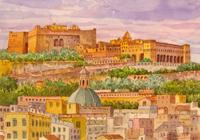 Quadro di  Giovanni Ospitali - Napoli Panorama con Castel S.Elmo e la Certosa acuarela papel