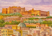 Работы  Giovanni Ospitali - Napoli Panorama con Castel S.Elmo e la Certosa watercolor бумага