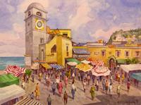 Работы  Giovanni Ospitali - Capri La Piazzetta watercolor бумага