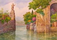 Работы  Giovanni Ospitali - Lago di Como Villa Arconati watercolor бумага
