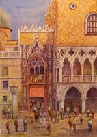 Quadro di  Giovanni Ospitali - Venezia Porta della Carta acuarela papel
