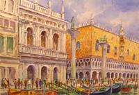 Quadro di Giovanni Ospitali - Venezia Libreria e Palazzo Ducale  acquerello carta