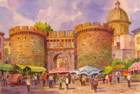Работы  Giovanni Ospitali - Napoli Porta Capuana watercolor бумага
