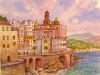 Работы  Giovanni Ospitali - A Trani Panorama watercolor бумага