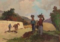Quadro di  Carlo Domenici - Paesaggio Isola D'Elba huile tableau
