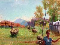 Quadro di  Valentino Ghiglia - Pecore al pascolo Óleos papel
