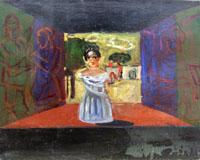 Quadro di  Roberto Panichi - Scena con matrona huile toile