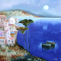 Quadro di  Lido Bettarini - Panorama marittimo Óleos tela