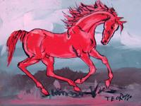 Работы  Teo Russo - Il cavallo rosso acrylic стол