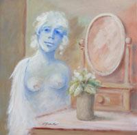 Quadro di  Umberto Bianchini - Ragazza con specchio mélange toile