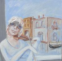 Quadro di  Umberto Bianchini - Balcone veneziano mixta tela