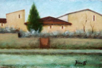 Работы  Giancarlo Fioretti - Paesaggio oil картон