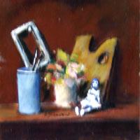 Quadro di  Umberto Bianchini - Oggetti del pittore Óleos tabla