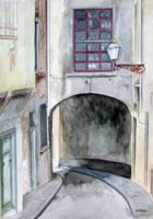 Quadro di  Franco Lastraioli - Via Fiorentina aquarelle papier
