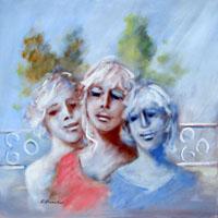 Quadro di  Umberto Bianchini - Le amiche Óleos tela