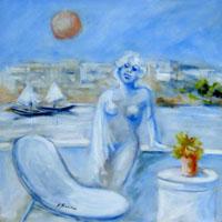Quadro di  Umberto Bianchini - Balcone sul mare Óleos tela