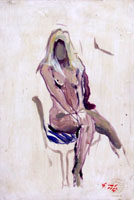 Работы  Gino Tili - Nudo seduto oil картон