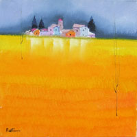 Quadro di  Lido Bettarini - Campo di grano huile toile