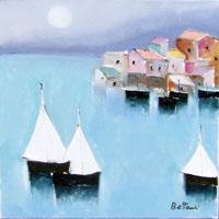 Quadro di  Lido Bettarini - Porto con vele Óleos tela