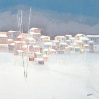 Quadro di  Lido Bettarini - Paesaggio sotto neve huile toile