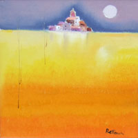 Quadro di  Lido Bettarini - Campo di grano e case huile toile