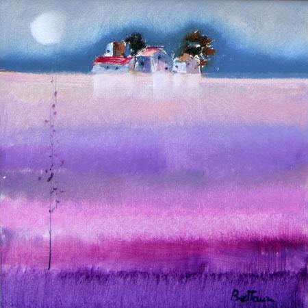 Lido Bettarini - Campo di lavanda con luna