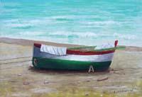 Quadro di  firma Illeggibile - Barca huile toile