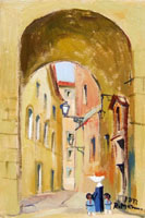 Quadro di  Rodolfo Marma - Vicolo delle bombarde Óleos tabla