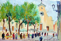 Работы  Rodolfo Marma - Piazza Santo Spirito oil стол