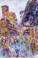 Quadro di  Guido Borgianni - Turisti su Ponte vecchio pastel papel