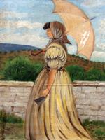 Quadro di  firma Illeggibile - Signora con ombrellino huile tableau