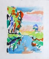Quadro di  Luigi Pignataro - Paesaggio pastel papel